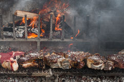 BBQ with florentines steaks Stock Photos