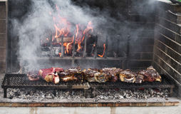 BBQ with florentines steaks Royalty Free Stock Photos
