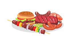 BBQ Food exposition, Big Burger and Savory Steaks. BBQ food exposition big burger and savory steaks isolated on white backdrop, fried sausages with grid stripes Stock Images