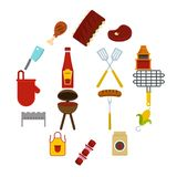 BBQ food icons set in flat style. Isolated vector illustration Royalty Free Stock Images