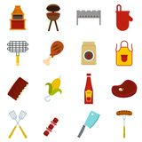 BBQ food icons set in flat style. Isolated vector illustration Stock Photo