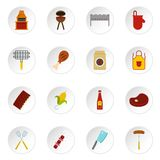 BBQ food icons set in flat style. Isolated vector icons set illustration Royalty Free Stock Photos