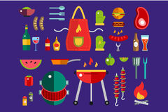 BBQ and Food Icons Vector Set. Outdoor, kitchen. Meat and grill, burger, eat food symbols. Stock design elements. Key ideas is outdoor food, barbecue party Stock Photo