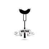 BBQ food label. Sausage icon Royalty Free Stock Image