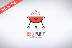 BBQ and Food Vector Logo. Outdoor, Kitchen or Meat Stock Photo
