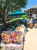 BBQ foods and snacks at resident pool party event at apartment complex near Dallas