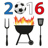 BBQ 2016 Football France. Text 2016 with football and french national colors background stock illustration