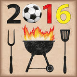 BBQ 2016 Football Germany Vintage. Football with date 2016 and barbecue on the vintage background Stock Images
