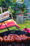 BBQ fried sausages grill Stock Photography