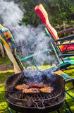 BBQ garden grilled sausages Royalty Free Stock Image
