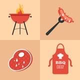 BBQ geplaatste pictogrammen Royalty-vrije Stock Afbeeldingen