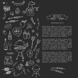 BBQ geplaatste pictogrammen Stock Afbeeldingen