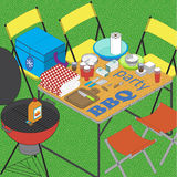 BBQ on grass  ilustration Royalty Free Stock Photography