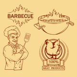 BBQ Grill. Сooking meat on fire. Barbecue Party. Bbq logo Royalty Free Stock Image