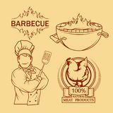 BBQ Grill. Сooking meat on fire. Barbecue Party. Bbq logo Stock Photography