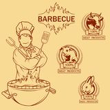BBQ Grill. Сooking meat on fire. Barbecue Party. Bbq logo Royalty Free Stock Photo