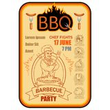 BBQ Grill. Сooking meat on fire. Barbecue Party. Bbq logo Royalty Free Stock Photography