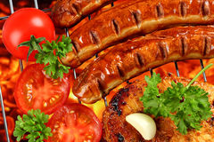 Bbq grill. Bbq with sausages and steak stock image