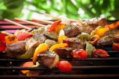 BBQ Grill. Barbecue on a grilling pan stock images