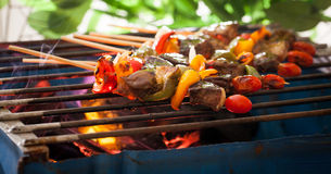 BBQ Grill. Barbecue on a grilling pan royalty free stock images