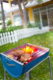 BBQ Grill. Barbecue on a grilling pan royalty free stock photos
