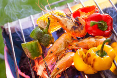 BBQ Grill. Barbecue on a grilling pan royalty free stock image