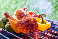 BBQ Grill. Barbecue on a grilling pan royalty free stock photo