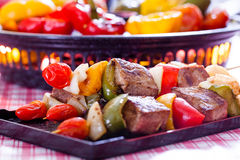 BBQ Grill. Barbecue on a grilling pan royalty free stock photography