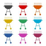 BBQ, Grill Or Barbecue icon, color icons set. Simple vector icon Stock Image