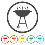 BBQ, Grill Or Barbecue icon, 6 Colors Included Stock Image