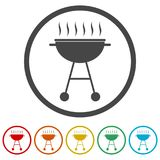 BBQ, Grill Or Barbecue icon, 6 Colors Included Stock Photo