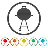 BBQ, Grill Or Barbecue icon, 6 Colors Included Royalty Free Stock Photos
