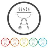 BBQ, Grill Or Barbecue icon, 6 Colors Included Stock Photos