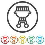 BBQ, Grill Or Barbecue icon, 6 Colors Included Royalty Free Stock Image