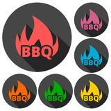 BBQ, Grill Or Barbecue icons set with long shadow Stock Photos