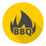 BBQ, Grill Or Barbecue icons set with long shadow Stock Photo