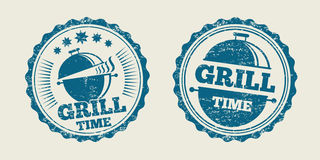 BBQ grill barbecue vintage steak menu seal stamp. Vector illustration Stock Images