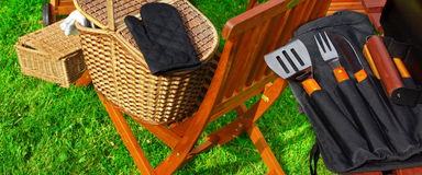 BBQ Grill and BBQ Tools Royalty Free Stock Images