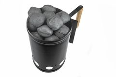 BBQ Grill Coals Flame Starter With  Charcoal Briquettes Isolated Royalty Free Stock Photos