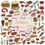Bbq Grill Color Sketch Set. Stock Image
