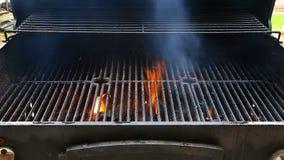 BBQ Grill en gloeiende steenkolen U kunt meer BBQ, geroosterd voedsel, brand zien stock video