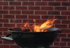 BBQ grill fire royalty free stock images
