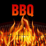 BBQ grill fire. Closeup BBQ grill fire on black background Royalty Free Stock Image