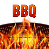 BBQ grill fire. Closeup BBQ grill fire on white background Stock Image