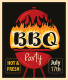 BBQ grill in the fire. Retro banner with BBQ grill in the fire Stock Image