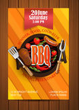 BBQ Grill flyer with elements. Royalty Free Stock Images