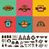 BBQ Grill Food Vintage Labels Logo vector design. Stock Photography