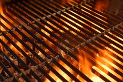 BBQ Grill. With Glowing Coals and Bright Flames Royalty Free Stock Photo