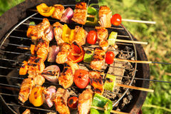Bbq grill. Bbq gril outside meat and vegetable stock images