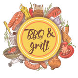 BBQ and Grill Hand Drawn Background with Steak, Fish and Sauce. Picnic Party. Vector illustration Royalty Free Stock Photography